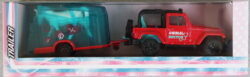 Majorette Jeep Wrangler with horse trailer - Red