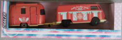 Majorette Volkswagen  T1 with caravan - Dark pink