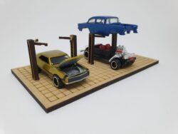 I-fabriek Double garage ramp DIY Diorama Kit 1:64